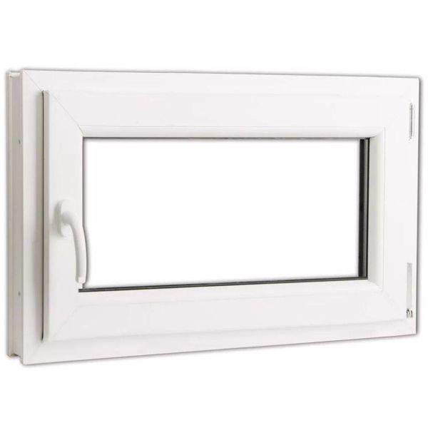 Draaikiepraam van PVC met dubbel glas en handvat links  800 x 500 mm