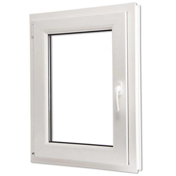 Draaikiepraam van PVC met dubbel glas en handvat rechts 600 x 900 mm