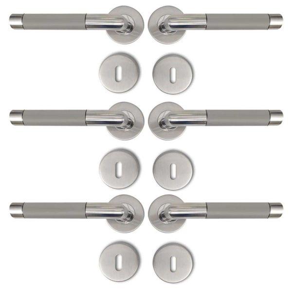 Deurklink RVS alternatief met sleutelrozet (3 sets)