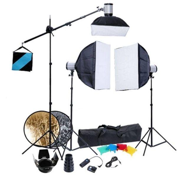 Fotostudio set 3 flitslampen softboxen 60x60 en statieven