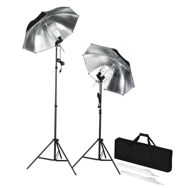 Draagbare studioflitserset met statieven en paraplu's