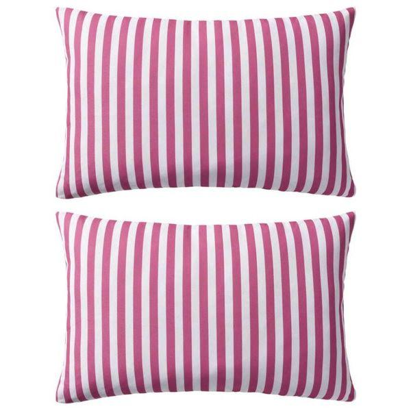 Buitenkussens 60x40 cm gestreept roze 2 st