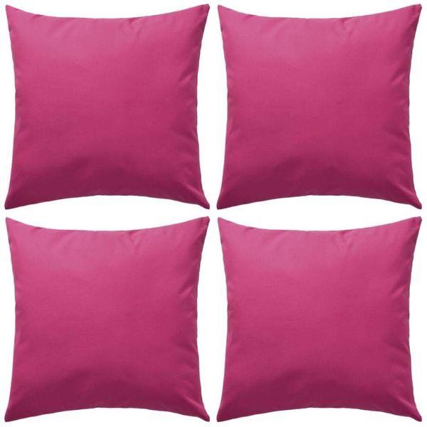 Buitenkussens 45x45 cm roze 4 st