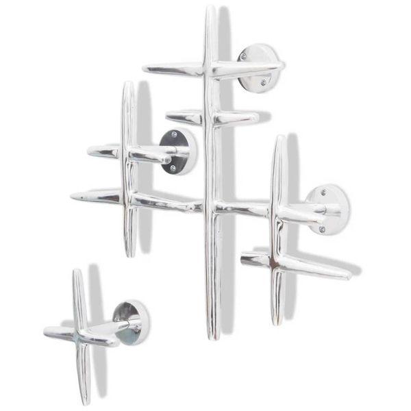 2 Wandkapstokken Aluminium Zilverkleurig