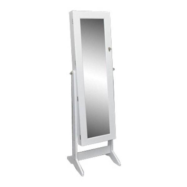 Sieradenkast met spiegel 46 x 146 cm wit