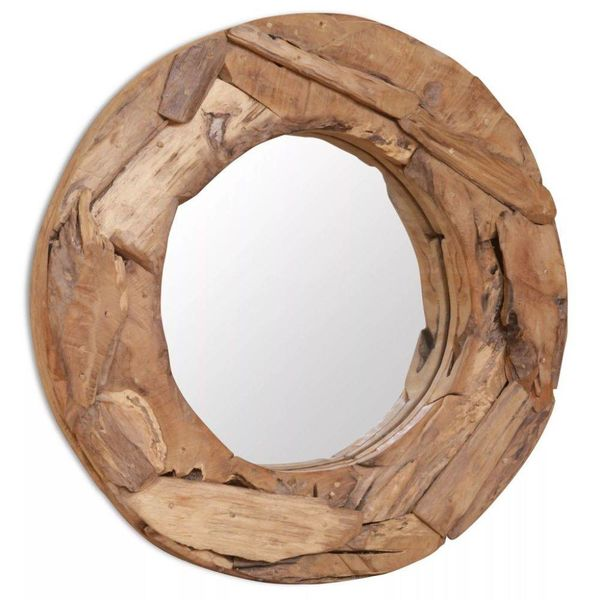 Decoratieve spiegel rond 60 cm teakhout