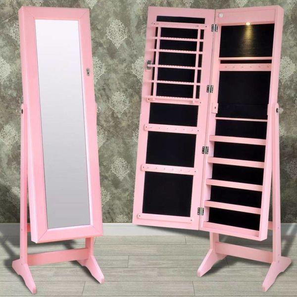 Sieradenkast met LED-lamp en spiegel (roze)