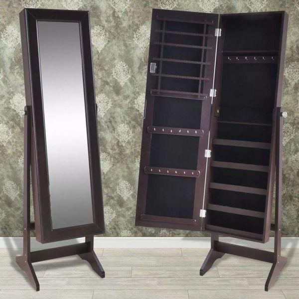 Sieradenkast met spiegel (bruin)