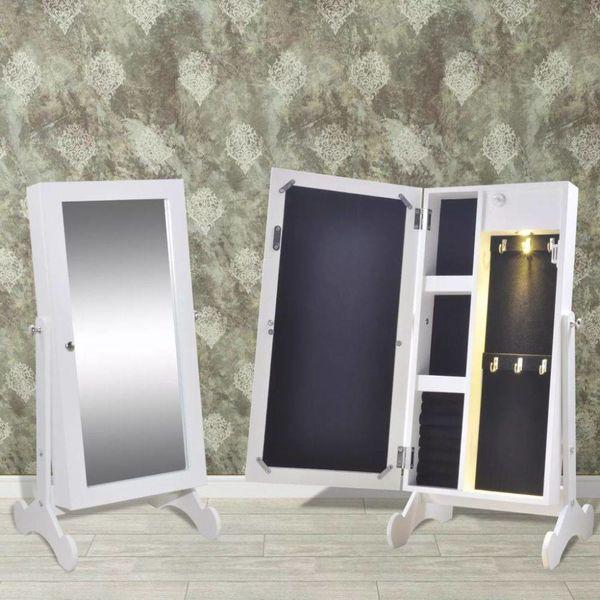 Sieradenkast met LED-lamp en spiegeldeur (wit)