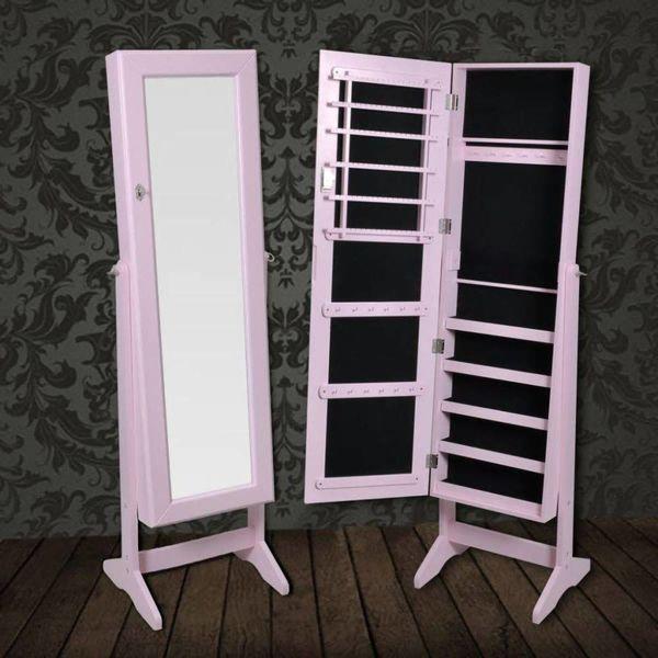 Sieradenkast met spiegel 146 x 37 x 46 cm (roze)