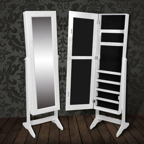 Sieradenkast met spiegel 146 x 36 x 40 cm (wit)
