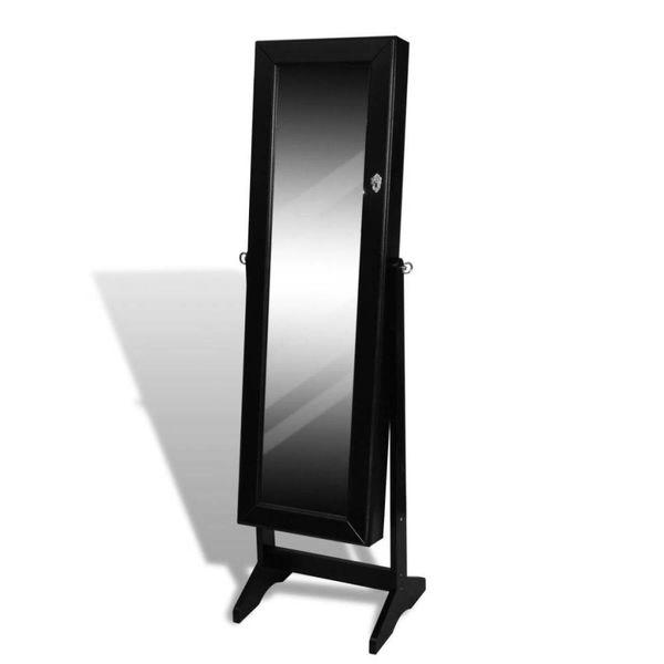 Sieradenkast met spiegel 46 x 146 cm (zwart)