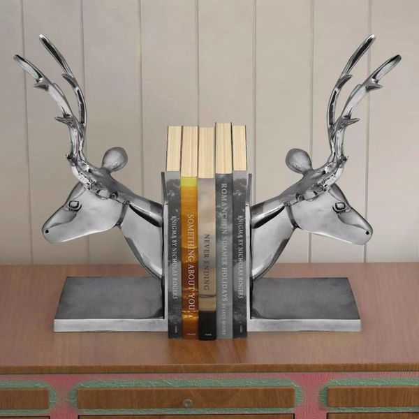 Boekensteunen herten 2 stuks aluminium zilver
