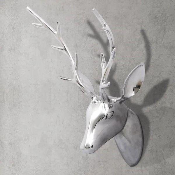 Hertenkop voor aan de wand 62 cm zilverkleurig