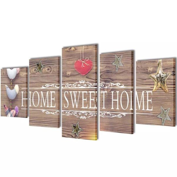 Canvas Wall Print Set Home Sweet Home Design 200 x 100 cm