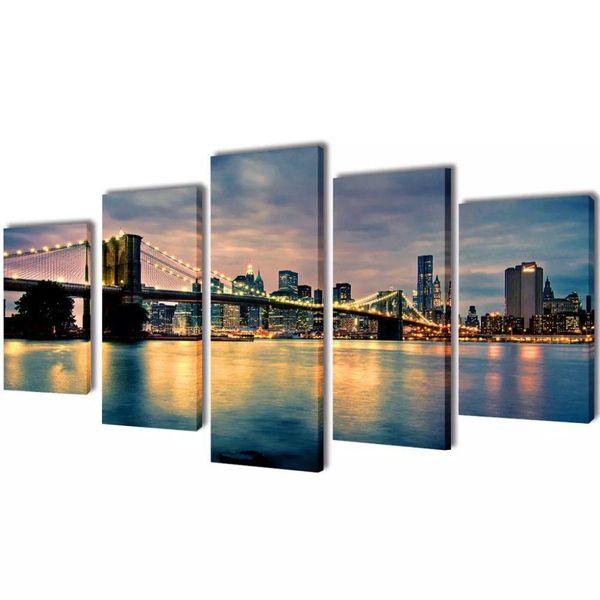 Canvasdoeken Brooklyn Bridge rivier uitzicht 200 x 100 cm