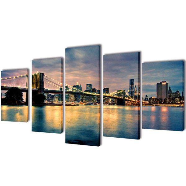 Canvasdoeken Brooklyn Bridge uitzicht over river 100 x 50 cm