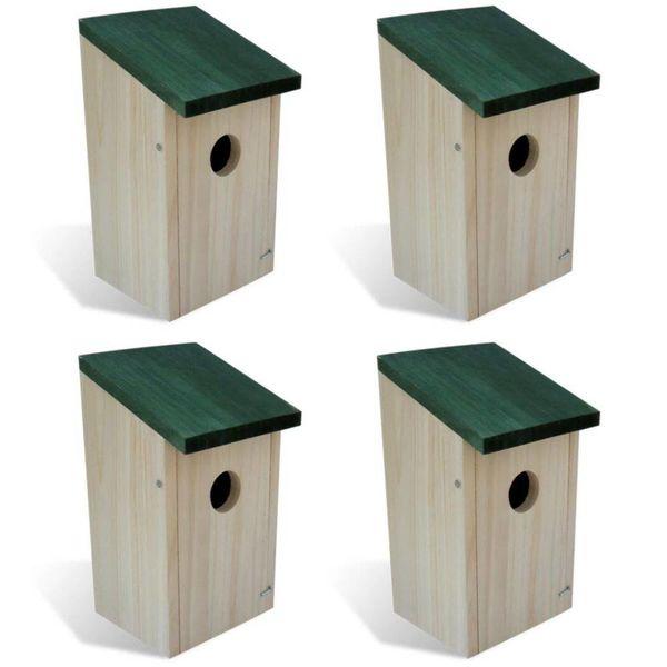 Vogelhuisje hout set van 4