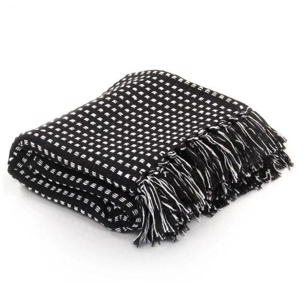 Plaid vierkanten 125x150 cm katoen zwart