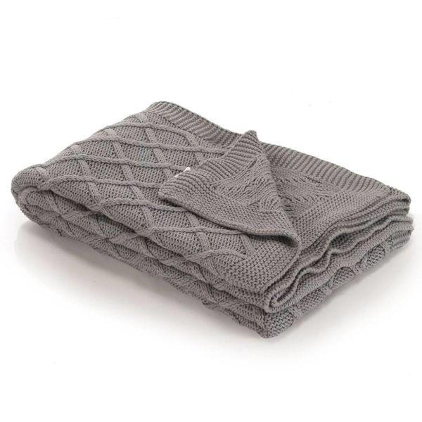 Dekentje gebreid plaid ontwerp 130x171 cm katoen grijs