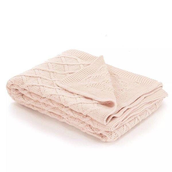 Dekentje gebreid plaid ontwerp 130x171 cm katoen roze