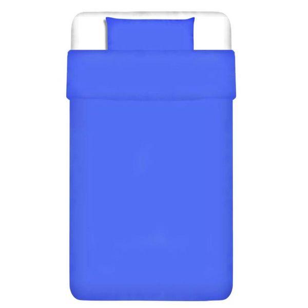 dekbedovertrek tweedelig katoen blauw 155 x 200/60 x 70 cm