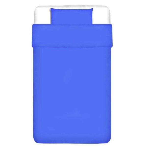 Dekbedovertrek tweedelig katoen blauw 135 x 200/80 x 80 cm
