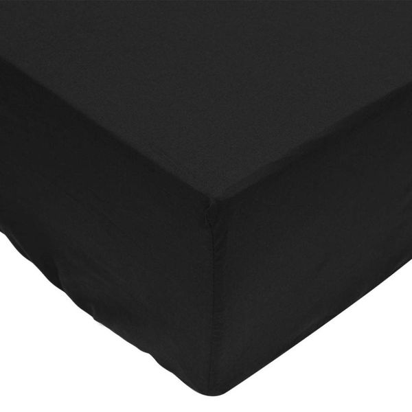 Hoeslaken 200x200 cm zwart katoen 2 st