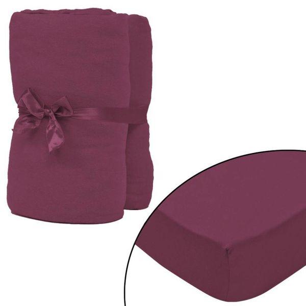 hoeslaken 2 st katoen jersey 160 g/m2 90x190-100x200 cm rood
