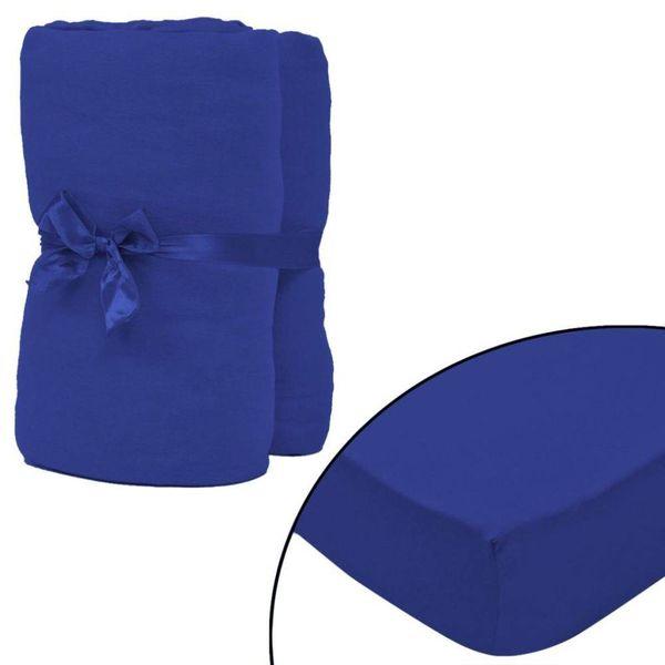 hoeslaken 2 st katoen jersey 160 g/m2 90x190-100x200 cm blauw