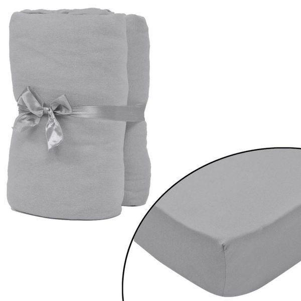 hoeslaken 2 st katoen jersey 160 g/m2 90x190-100x200 cm grijs
