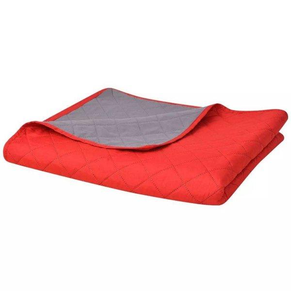 Dubbelzijdige quilt bedsprei rood en grijs 230x260 cm