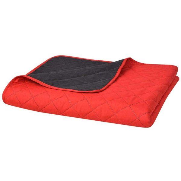 Bedsprei gewatteerd dubbelzijdig 170x210 cm rood en zwart