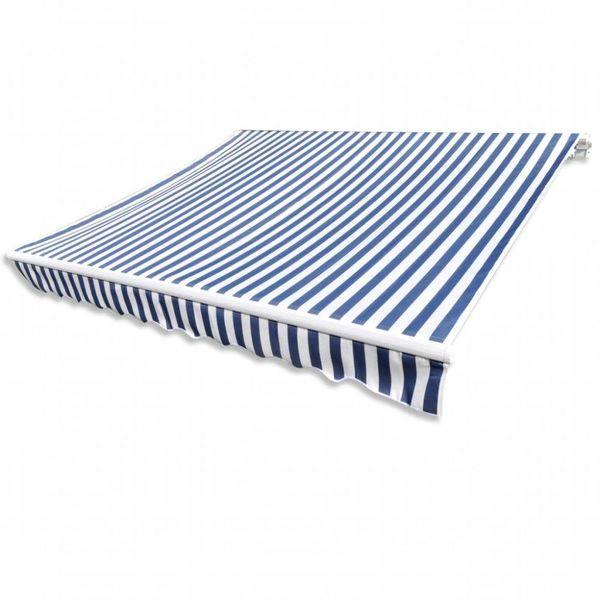Canvas zonnescherm met luifel 4x3 m blauw wit frame niet inbegrepen