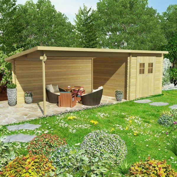 Tuinhuis 7,3x3 m 28 mm massief hout