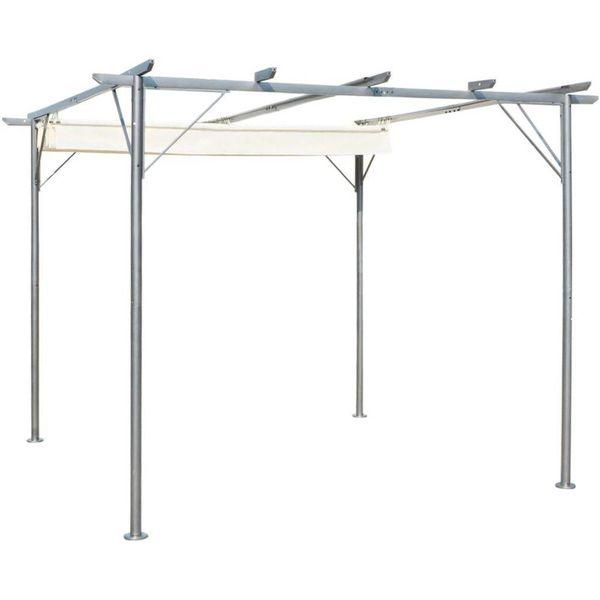 Pergola met uitschuifbaar daksysteem 3x3 m staal crémewit