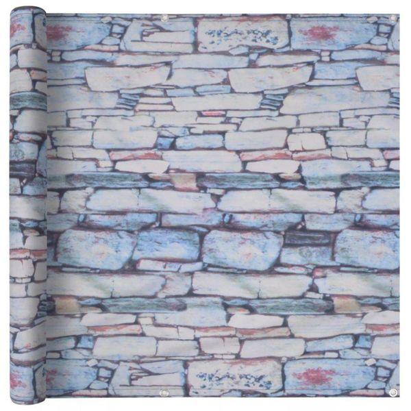 Balkonscherm 75x600 cm oxford stof stenen muur opdruk