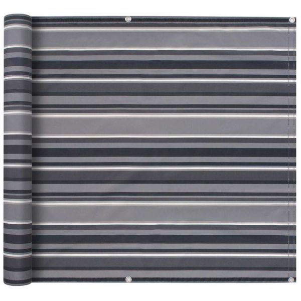 Balkonscherm 75x600 cm oxford stof streep grijs