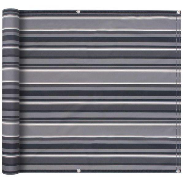 Balkonscherm 75x400 cm oxford stof streep grijs