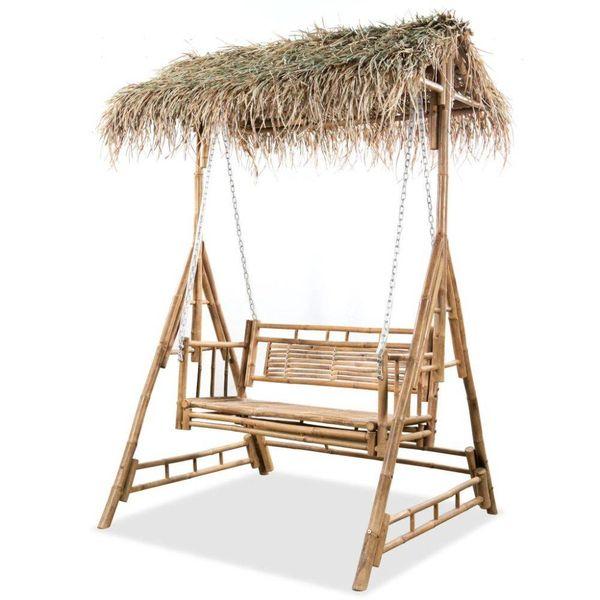 Schommelbank met palmbladeren 2-zits 202 cm bamboe
