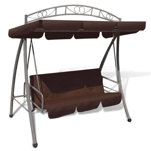 Schommelstoel voor buiten met luifel en versiering koffiekleur
