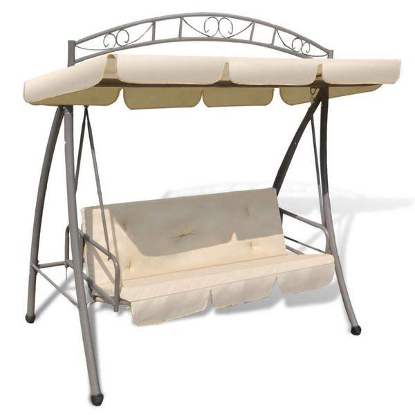 Schommelstoel voor buiten met luifel en versiering zandwit