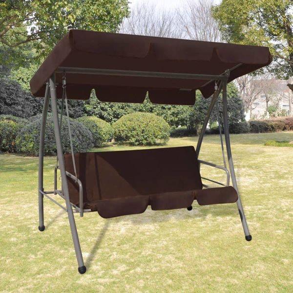 Schommelstoel voor buiten met luifel koffiekleur