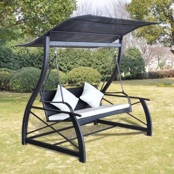 Schommelbank voor in de tuin poly rattan zwart 167x130x178 cm