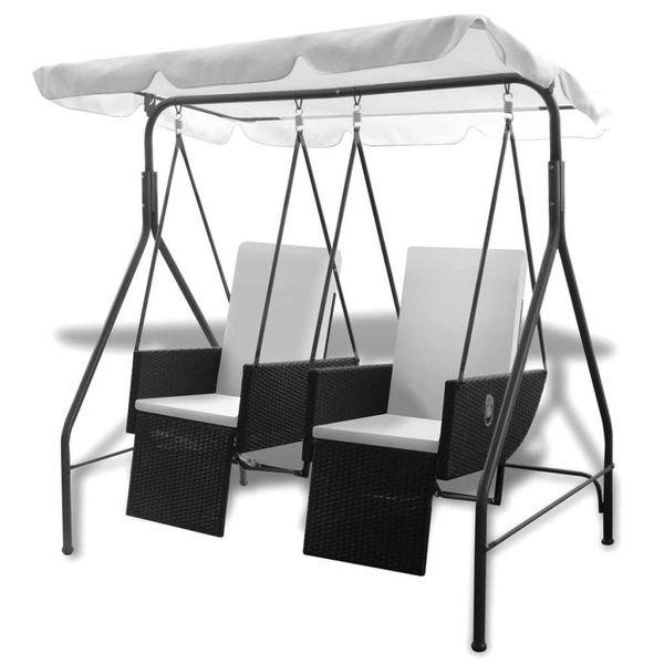Poly rattan lig- en schommelstoel met twee zitjes (zwart)