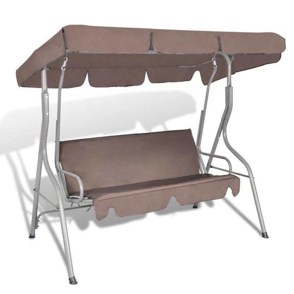 Hang schommelstoel met luifel voor buiten (koffie kleur) 3 personen