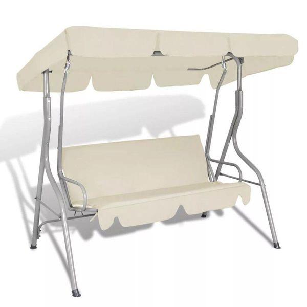 Hang schommelstoel met luifel voor buiten (zand wit) 3 personen