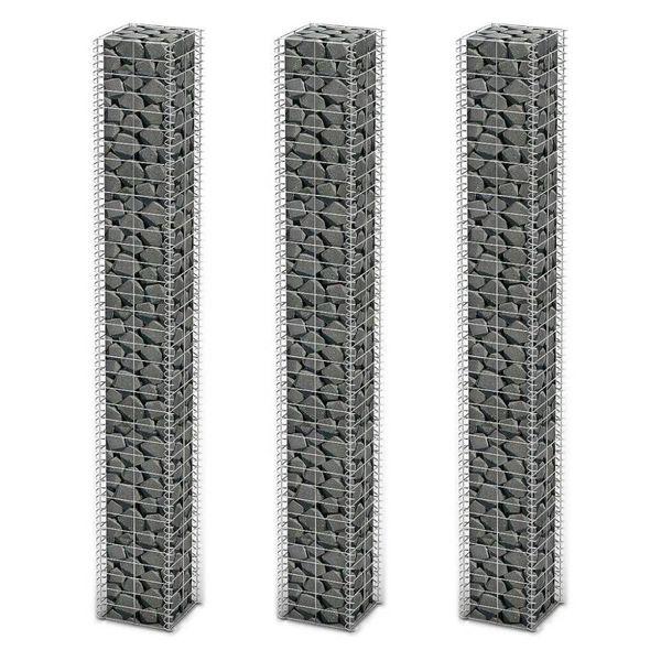 3-delige Schanskorfset 25x25x197 cm gegalvaniseerd draad