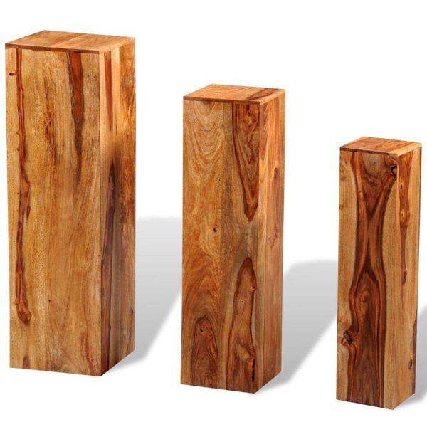 Plantenstandaarden massief sheesham hout bruin 3 st