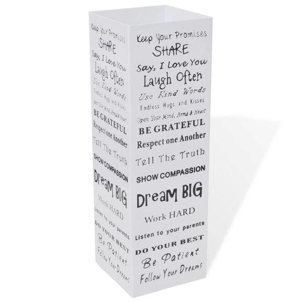 Paraplu- en wandelstokhouder wit vierkant + tekst staal 48,5 cm